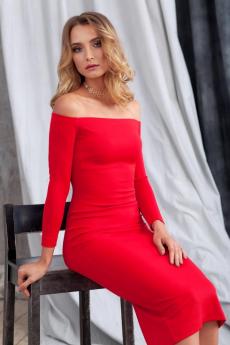 Красное платье с открытыми плечами RUXARA
