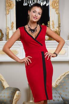 Красное платье с декольте Angela Ricci