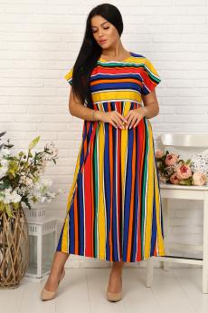Свободное платье в цветную полоску Натали