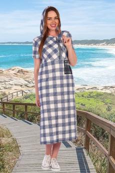 Длинное летнее платье с капюшоном Натали