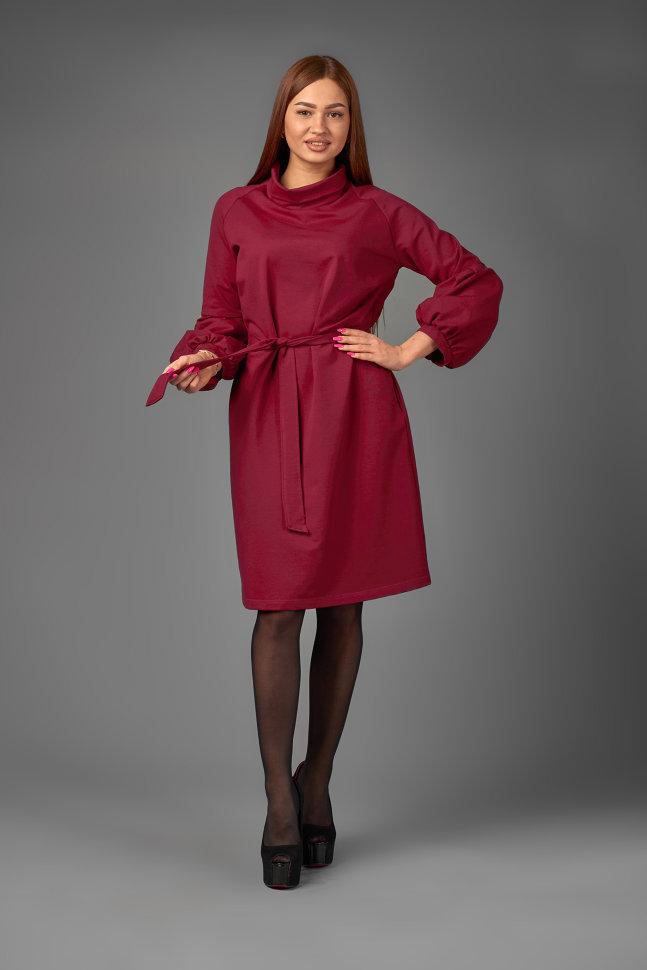 платье из неопрена с объемными рукавами купить